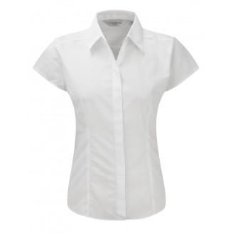 Camisa de trabajo entallada de Mujer de Popelín Manga Casquillo y Fácil Cuidado de Poliéster y Algodón