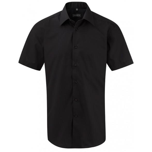 Camisa de trabajo Entallada de Hombre de Popelín Manga Corta y Fácil Cuidado de Poliéster y Algodón