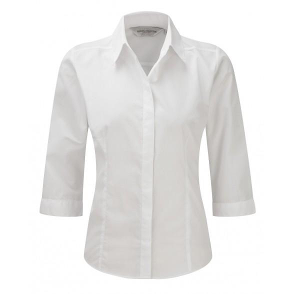 Camisa de trabajo entallada de Mujer de Popelín Manga ¾ y Fácil Cuidado de Poliéster y Algodón