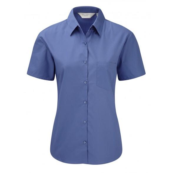 Camisa corporativa de Mujer de Popelín Manga Corta Fácil Cuidado de Algodón Puro
