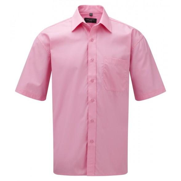 Camisa corporativa de Hombre de Popelín Manga Corta Fácil Cuidado de Algodón Puro