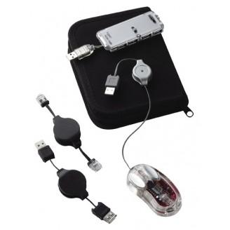 Kit viaje raton+Hub 4 ptos+toma USB+toma teléf..