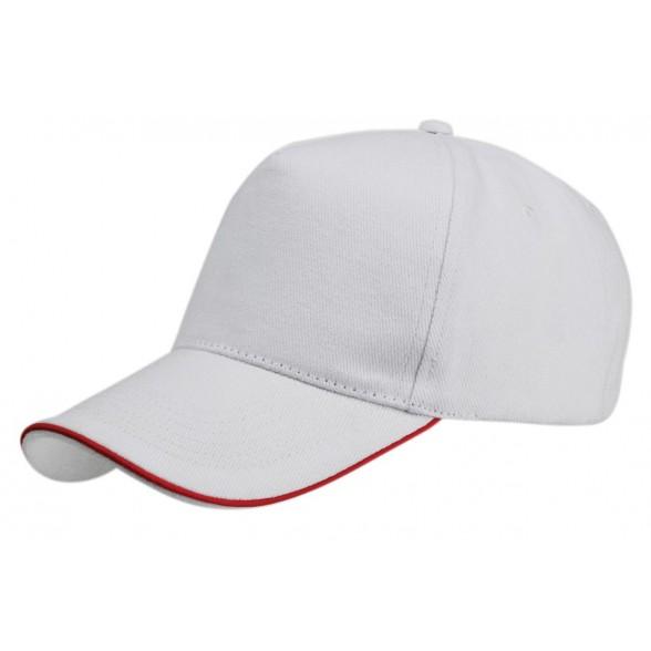 Gorra algodón peinado blanca con perfil color. Gorras promocionales.