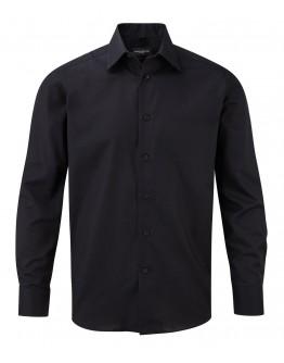 Camisa corporativa de Hombre Entallada de Tejido Oxford de Fácil Cuidado y Manga Larga