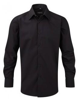 Camisa de trabajo Entallada de Hombre de Popelín Manga Larga y Fácil Cuidado de Poliéster y Algodón