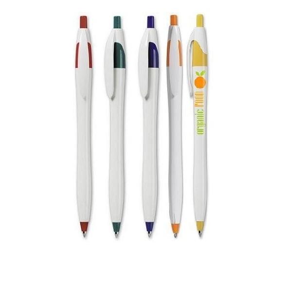 Bolígrafo publicitario PARIS plástico detalles color.