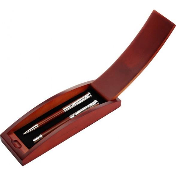 Estuche bolígrafos y roller de madera Silver