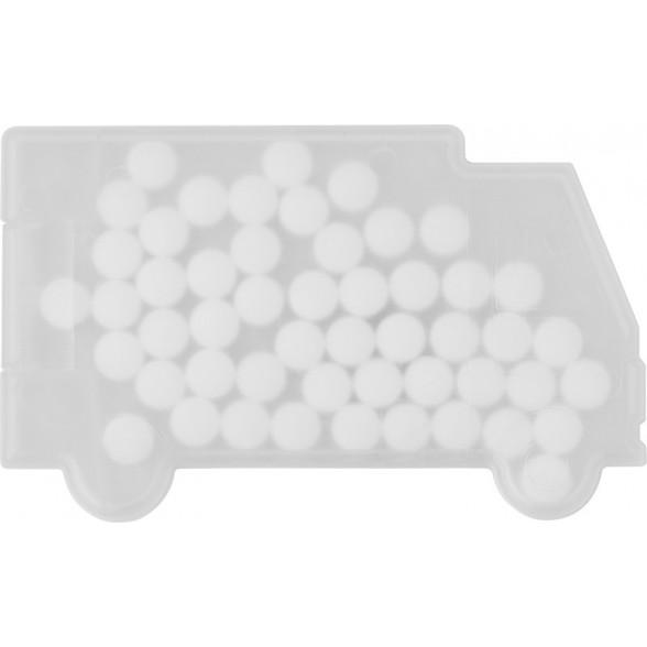 Cajita con caramelos de menta para promociones y publicidad con forma de camión