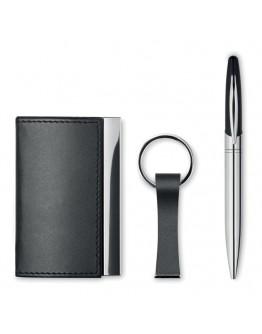 Set bolígrafo metálico con llavero y tarjetero Klen