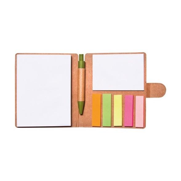 Bloc notas adhesivas publicitario con bolígrafo