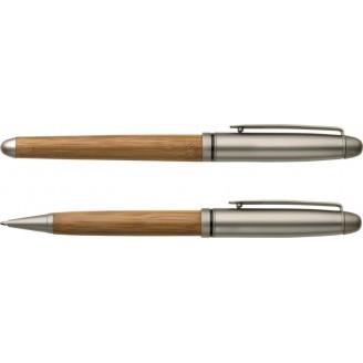 Set de bolígrafo y roller de madera Roel