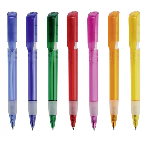 Bolígrafo publicitario plástico S40 Grip Clear / Bolígrafos Promocionales