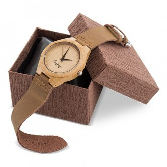 Reloj pulsera bambu correa piel Aix