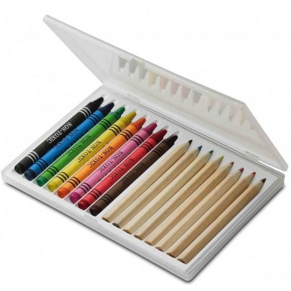 Set Orosi. 16 Piezas - Lapices Madera Y Cajas De Colores