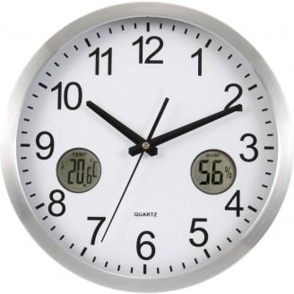 Reloj de pared con termómetro e higrómetro