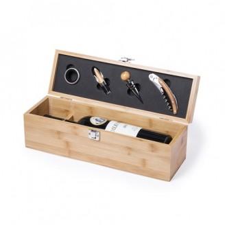 Set vino 4 accesorios de bambú Lion / Estuches para vino promocionales