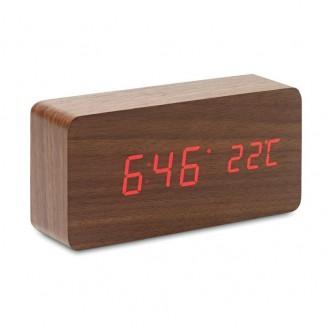 Reloj sobremesa madera con termómetro