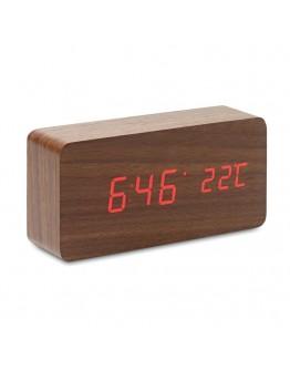 Reloj Sobremesa Madera con Termómetro / Relojes Publicitarios