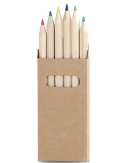 Caja 6 lápices cortos de colores / Lapices Personalizados Baratos