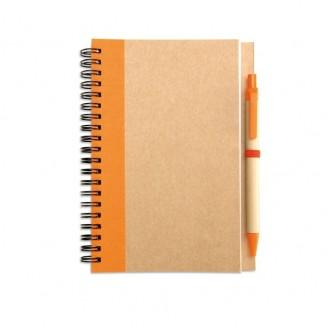 Juego cuaderno espiral y bolígrafo cartón reciclado