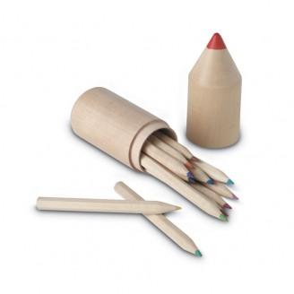 Estuche madera con 12 lápices de colores personalizados