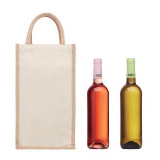 Bolsas para 2 botellas de vino de yute personalizadas con serigrafía