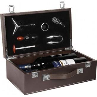 Caja  POLIPIEL doble con accesorios vino