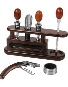 Expositor madera con accesorios vino