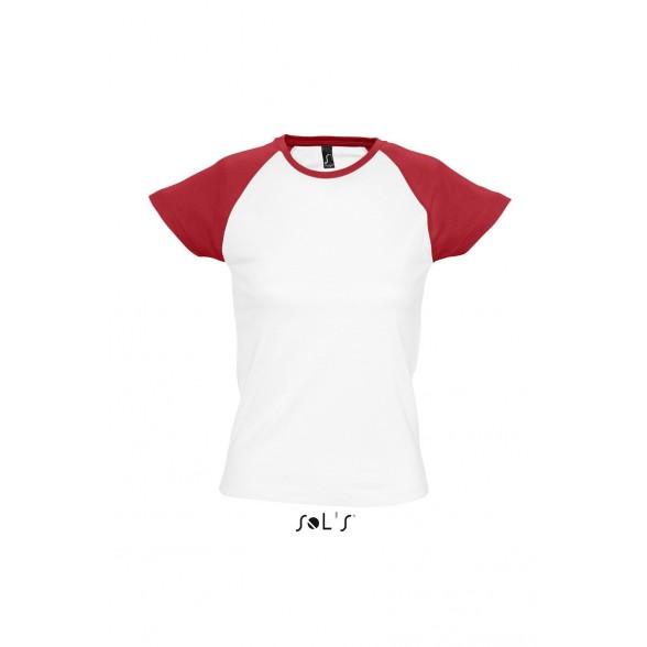 Camisetas publicitarias Sol's de mujer bicolor con manga raglán MILKY