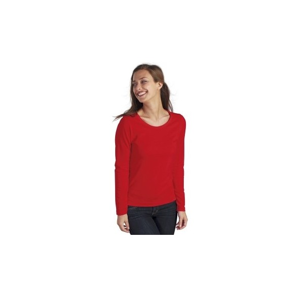 Camiseta mujer de algodón manga larga con cuello redondo - MAJESTIC