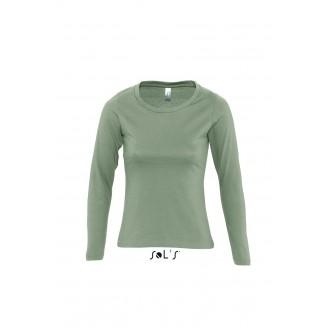 Camiseta mujer manga larga con cuello redondo - MAJESTIC