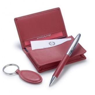 Set de regalo publicitario con llavero, monedero y bolígrafo