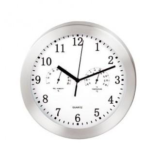 Reloj de pared de metal con estación meteorológica