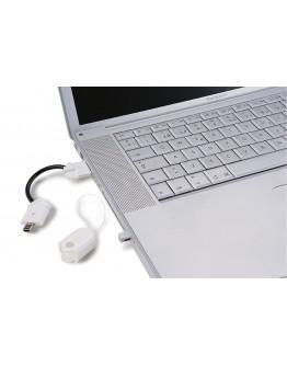 Mini cargador de emergencia. Incluye adaptadores para distintos teléfonos móviles y mini USB.
