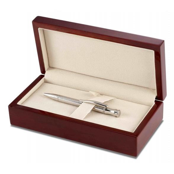 Bolígrafo Plata de Ley Rome con estuche madera