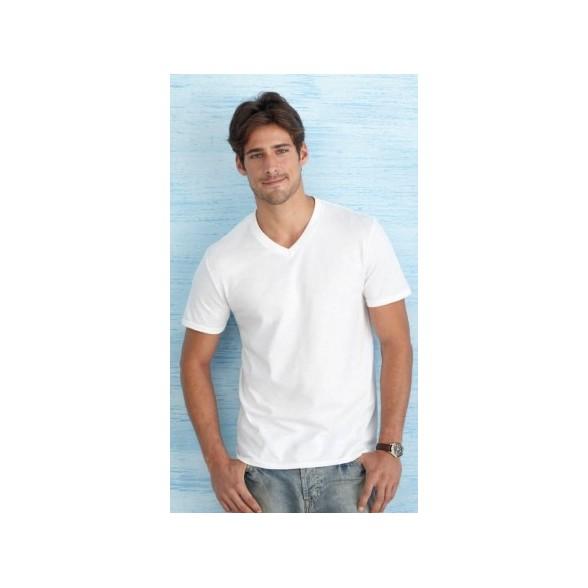 Camiseta Cuello V Estilo Suave Gildan Hombre
