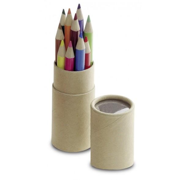 Estuche con 12 mini lápices de colores