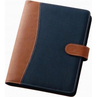 Agenda anillas portada combinada azul / marrón 13x18 cm