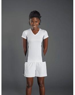 Camiseta Deporte Cuello en V Tagless® Mujer