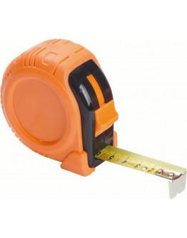 Flexómetro de 5 metros de goma naranja. Con clip
