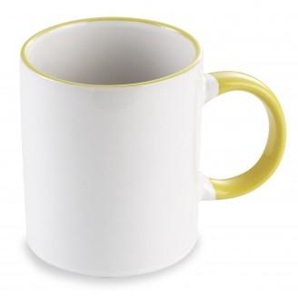 Mug blanco de loza con asa y perfil de color / Mugs Personalizados