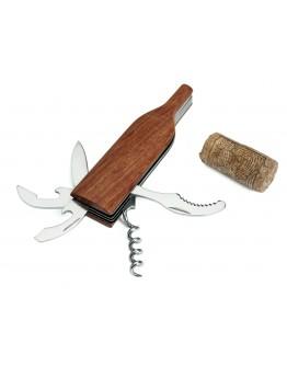 Sacacorchos multi-función de acero inoxidable y madera