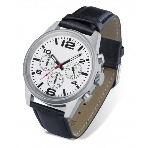 Reloj pulsera con cronómetro de acero inoxidable correa piel