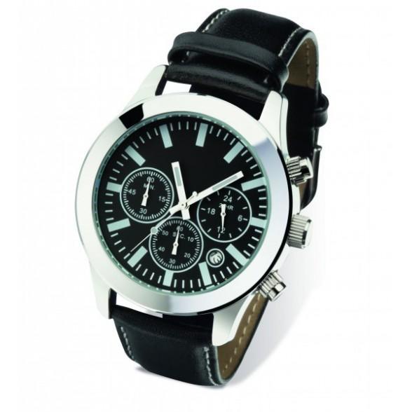 Reloj pulsera con cronómetro y día mes de acero inoxidable con correa piel