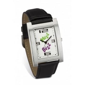 Reloj pulsera rectangular con correa piel