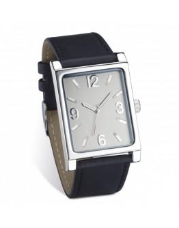 Reloj pulsera con correa de piel.