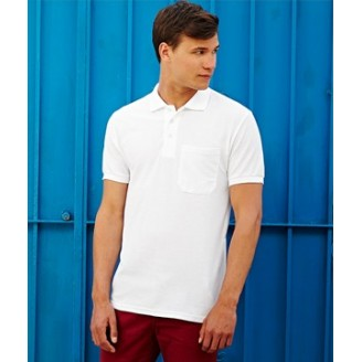 Polo Piqué 65/35 con Bolsillo Fruit of the Loom blanco